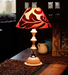 The Light House Red & Gold Shade Classic White Lamp
