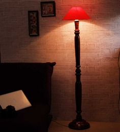 The Light House Red Shade Vintage Wooden Lamp