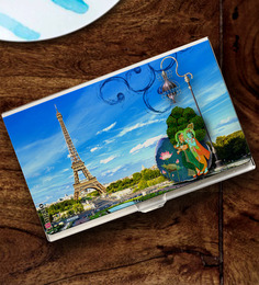 Tungs10 East To West Multicolor Stainless Steel Radha Krishna In Paris Card Holder