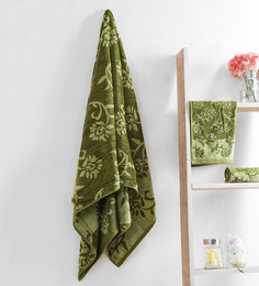 Turkish Bath Green Cotton 30 X 58 Inch Towel - Set Of 3