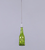 Tu Casa Green Hanging Glass Bottle Shape Candle Holder With Wax Candle