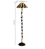Tu Casa Stiped Printed Shade Leaf Design Metal Floor Lamp