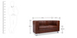Two Seater Sofa with Wrinkly Back in Everlast Brown Colour by Durian