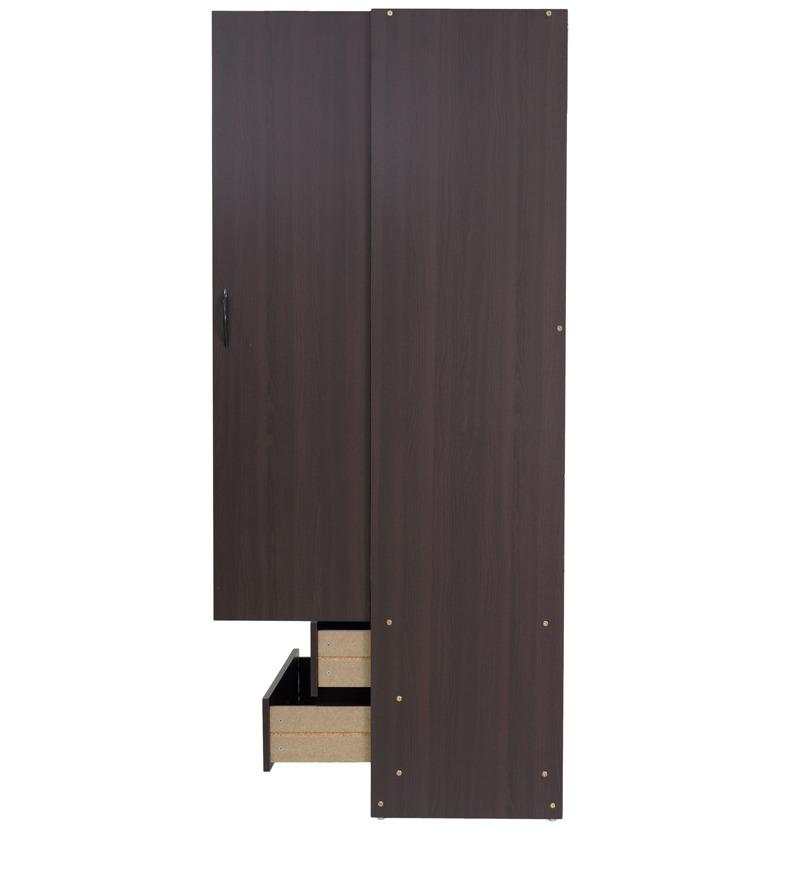 Two door wardrobe with storage shelves in chocolate beech for 1 door wardrobe with shelves