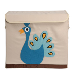 Uberlyfe Mbox Medium Animal Carnival Kids With Peacock Graphic Polyester & Cardboard 7 L Storage Box