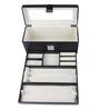 UberLyfe Black Leather Jewellery Box with Mirror and Clasp Lock