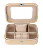 UberLyfe Electric Compact Cream Pu Leatherette Jewellery Box cum Organizer