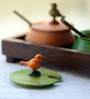 Unravel India Wooden Multicoloured 2 Bird Jars with Base Tray and Spoon