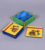 Vareesha Ethnic Hand Crafted Yellow MDF Coaster with Holder - Set of 6