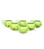 VarEesha Hand Crafted Green Ceramic 125 ML Cup & Saucer - Set of 6