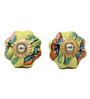 Variety Arts Diamond Painted Multicolour Ceramic Door Knobs - Set Of 4