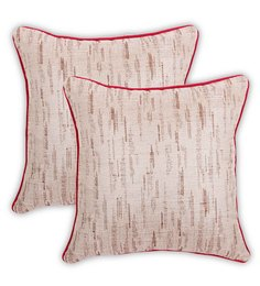 Vista Beige Cotton 16 X 16 Inch Value Added Cushion Cover - Set Of 2