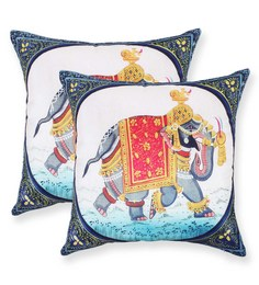 Vista Multicolour Polyester 16 X 16 Inch Elephant Digital Printed Cushion Cover - Set Of 2