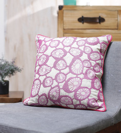 Vista Home Fashion Purple Cotton 18 X 18 Inch Indian Embroidered Cushion Cover