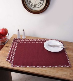 Vista Home Fashion Red Cotton 20x14 INCH Placemat - Set Of 3