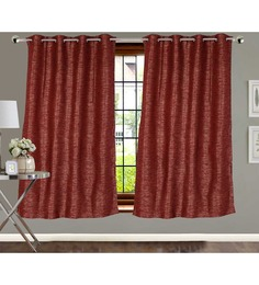 Vivace Homes Reds Polyester Plain Window Curtain Set Of 1