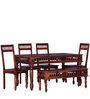 Visikha Six Seater Dining Set in Honey Oak Finish by Mudramark