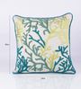 Vista Home Fashion Green Cotton 18 x 18 Inch Indian Embroidered Cushion Cover