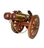 Vyom Shop Brown Wood & Brass Big Antique Top Showpiece