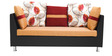 Walton LHS Corner Sofa Set with Two Ottomans in Rust Colour by Furnitech