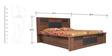 Wego Queen Bed with New Hydraulic Storage in Walnut & Black Colour by Crystal Furnitech
