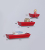Wies Wall Shelves Set of 3 in Red by CasaCraft