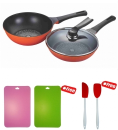 Wonderchef Poong Nyun Diamond Coated Pans + Free Recipe Booklet, Anti-Bacterial Chopping Mats, Silicone Spoon & Silicone Spatula