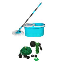 Wonder Spin Mop Multicolour With Unbreakable 30 Foot Water Spray Gun