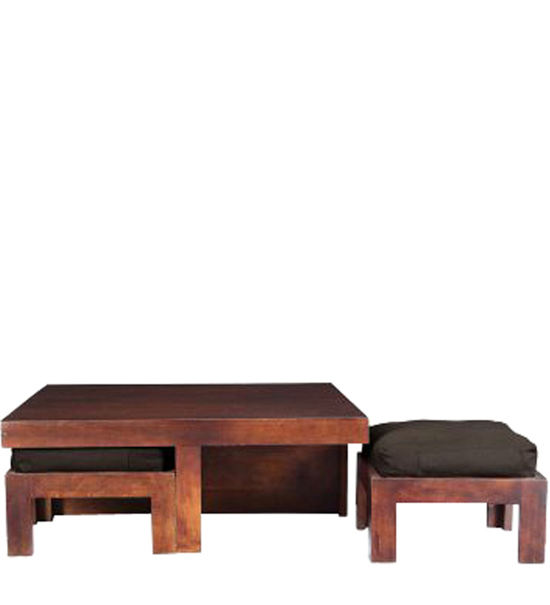 Wooden Square Coffee Table With Four Stools In Light Honey