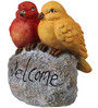 Wonderland Birds on Rock with Welcome Sign