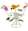 Wonderland White T-light Holder with Colorful Birds And Butterfly