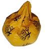 XXL Printed Bean Bag in Black & Yellow Leatherette by TJAR