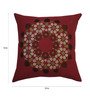 Yamini Maroon Cotton 12 x 12 Inch Floral Embroidered Cushion Cover