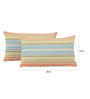 Yamini Multicolour Cotton 20 x 12 Inch Concentric Stripe Knife Edge with Bottom Zip Cushion Cover