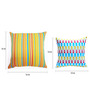 Yamini Multicolour Cotton Candy Stripe & Geometric Embroidered Cushion Cover - Set of 2