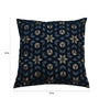 Yamini Navy & Grey Cotton 16 x 16 Inch Floral Embroidered Cushion Cover