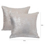 Yamini Silver Cotton 16 x 16 Inch All Over Foil Printed Cushion Cover
