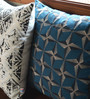Yamini Teal Cotton 16 x 16 Inch Diamond Embroidered Cushion Cover