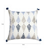 Yamini White & Blue Cotton 16 x 16 Inch Leaf Embroidered Cushion Cover