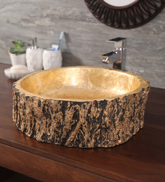 Zahab Leaf Craving Golden Wood Wash Basin (Model: C13-314)