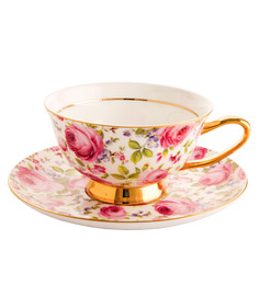 ZARS Gift Box Bone China 200 ML Floral Print 12-piece Cup And Saucer Set - 1426181