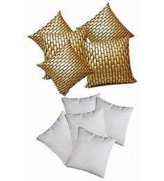 Zikrak Exim Golden Leather Bricks Cushion Cover With Fillers (Set Of 10)